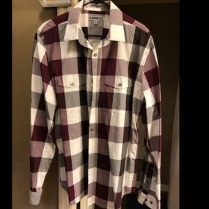 Express Purple Plaid Casual Button Down